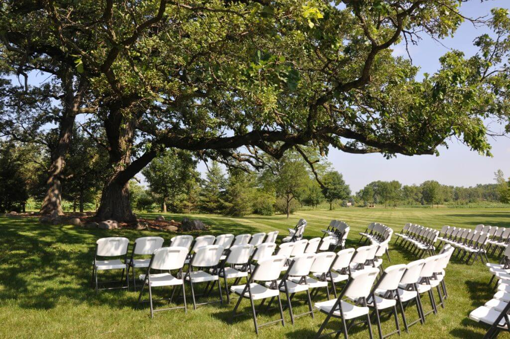 All Seasons Orchard Outdoor Wedding Ceremony Under Oak Trees