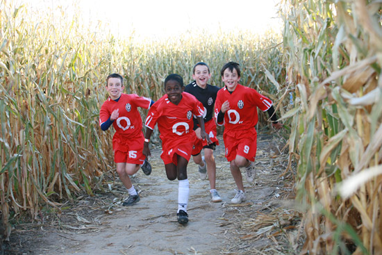 Running through the corn maze at All Seasons Orchard